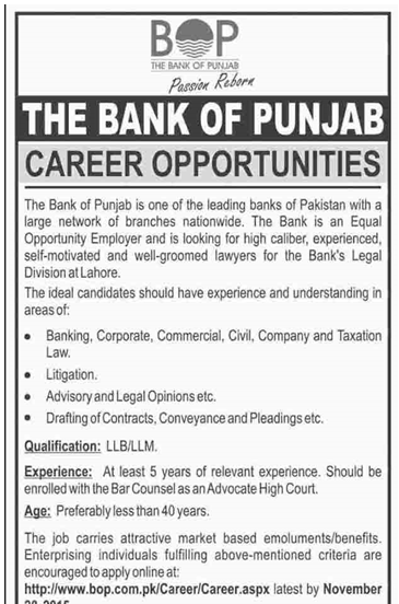 Bank of Punjab jobs 2015