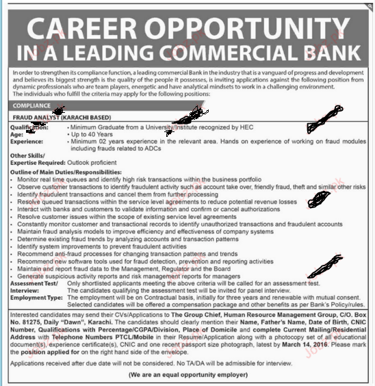 Jobs Leading Commercial bank