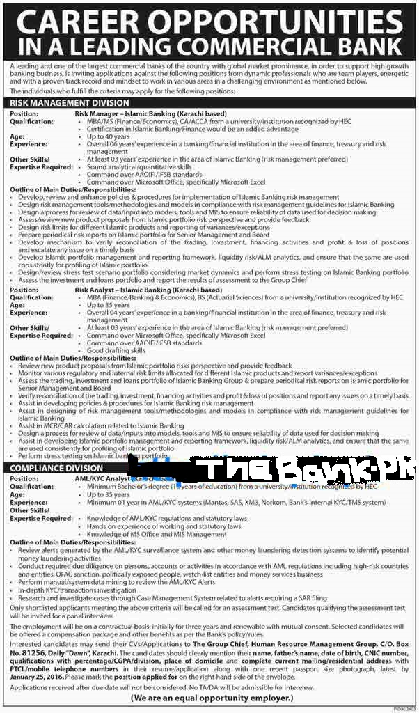 Leading Commercial bank Latest Jobs 2016 2017 with best salary