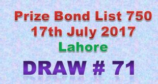 Prize Bond List 750 Dated 17-7-2017 Held at Lahore