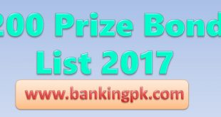 200 Prize Bond Draw Schedule List 2018