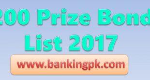 200 Prize Bond Draw Schedule List 2018