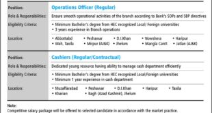 Askari Bank career opportunities Operation Office - Cashiers jobs 2018