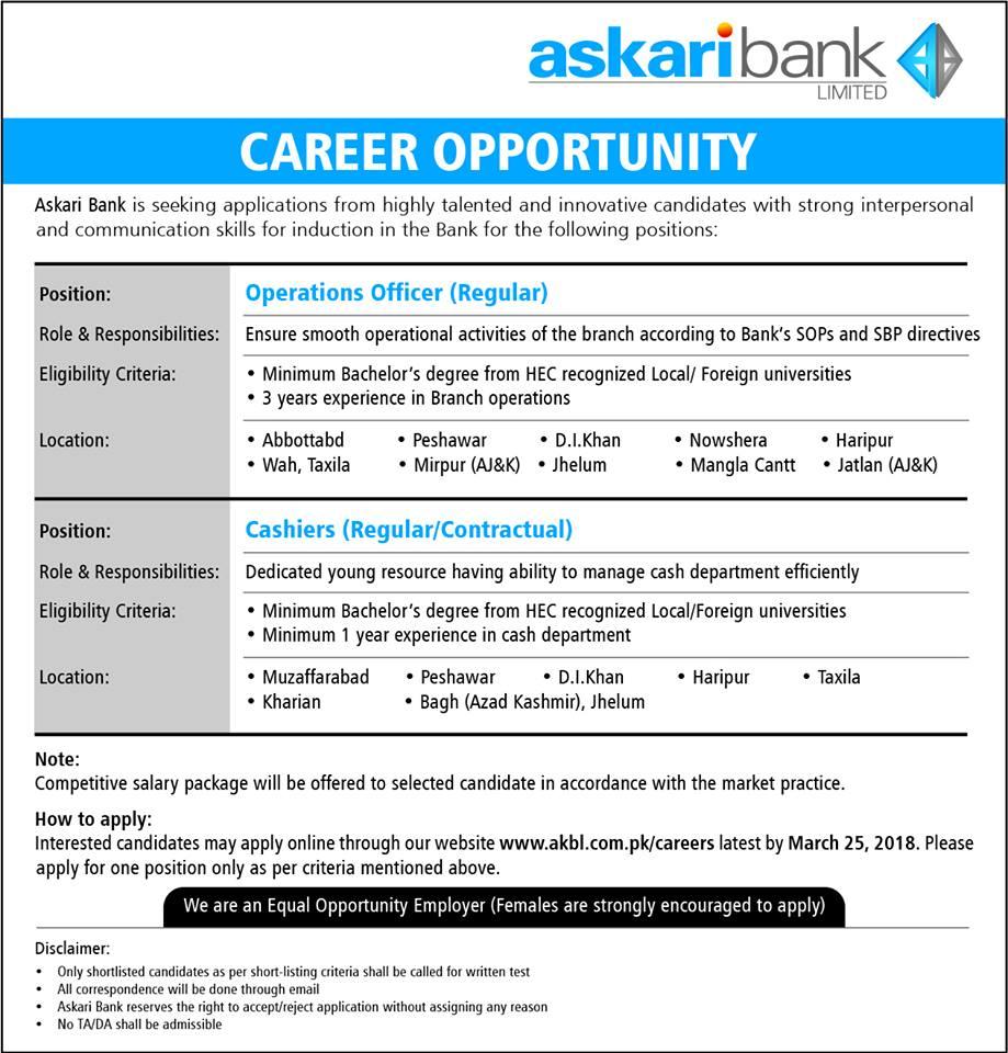 Askari Bank career opportunities Operation Office - Cashiers jobs 2018