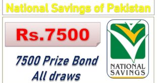 RS. 7500 Prize Bond List 2020 Draw Result