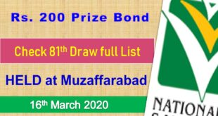 Prize bond 200 Draw #81 Full List Result 16, March 2020 Muzaffarabad