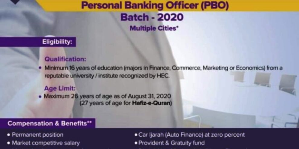 Meezan Bank Jobs 2020 for Personal Banking Officer (PBO)